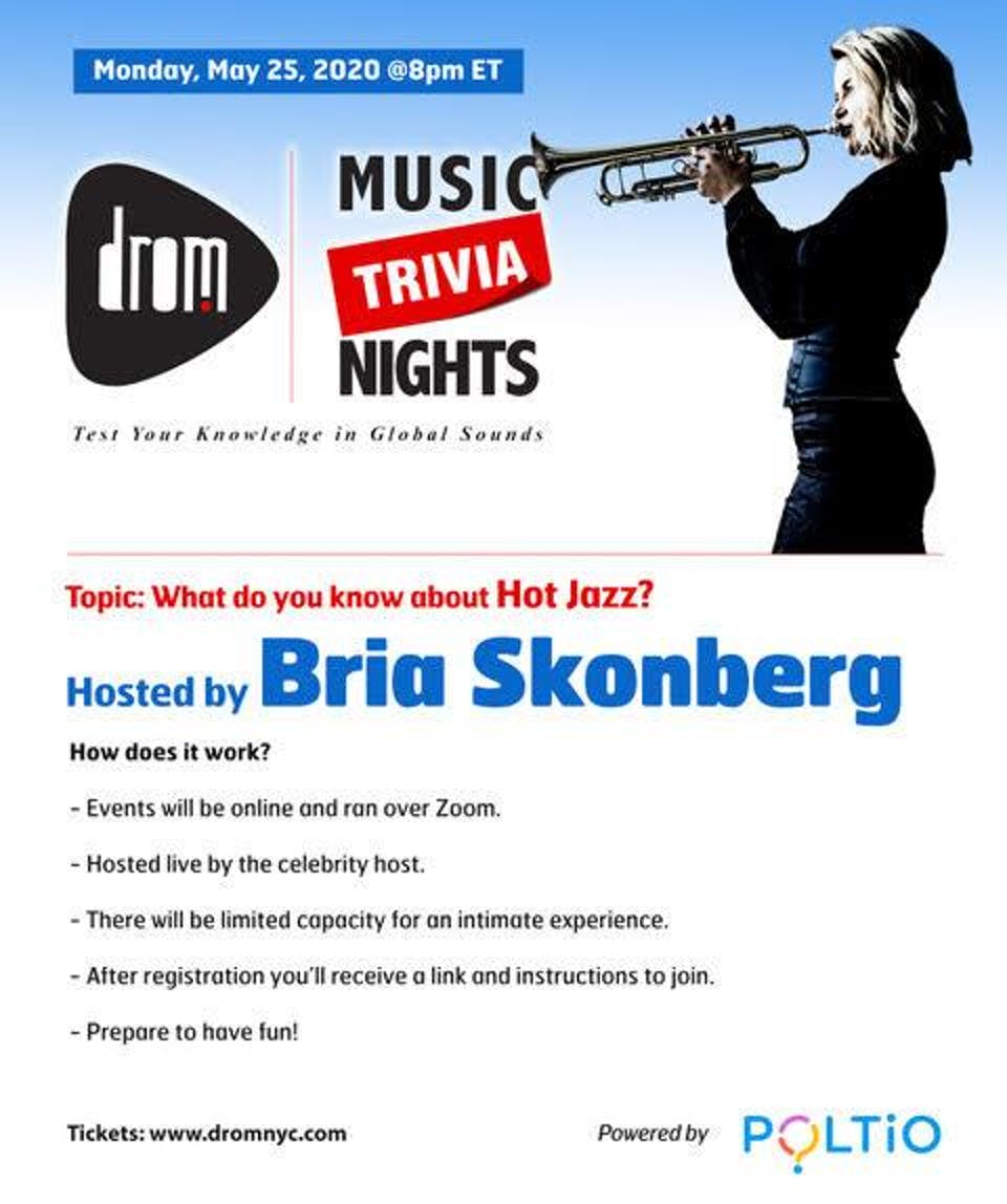 (Online) DROM MUSIC TRIVIA: What do you know about Hot Jazz? Bria Skonberg