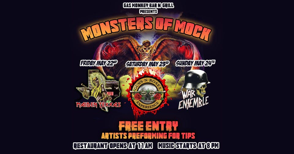 Reopening Party - Monsters of Mock - FREE SHOW - Maiden Texxas