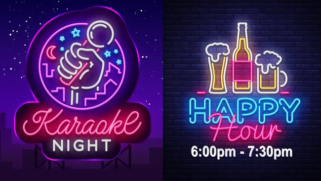 Karaoke Night  + Happy Hour 6:00-7:30 (No Cover)