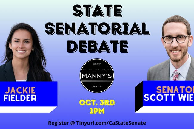 Senator Scott Wiener & Jackie Fielder State Senate Debate hosted by Manny's