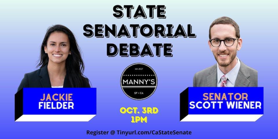 Senator Scott Wiener & Jackie Fielder State Senate Debate hosted by Manny's