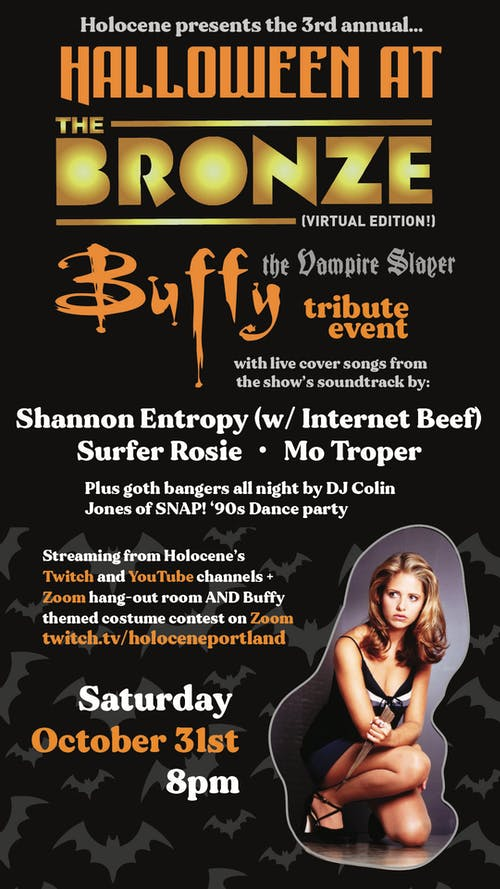 Halloween at the Bronze: Buffy the Vampire Slayer VIRTUAL Tribute Event