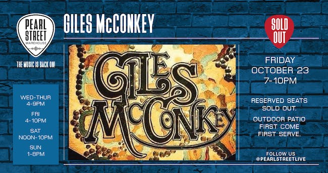 Live at Pearl Street Warehouse! Giles McConkey
