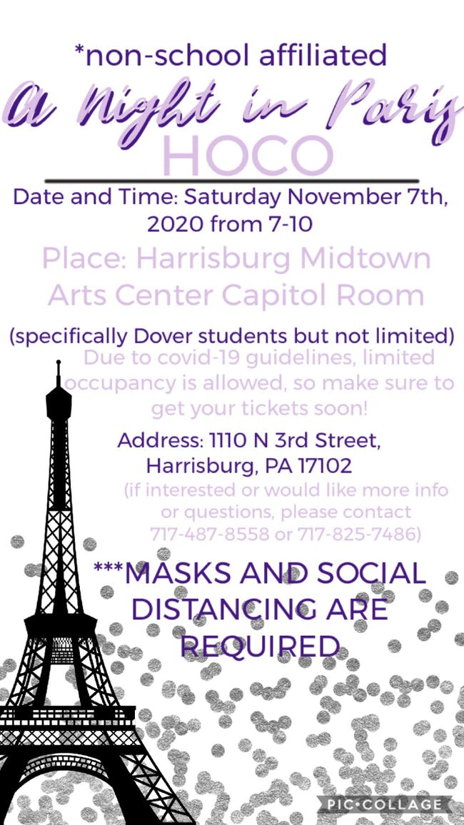 "Homecoming Dance 2020 ""A Night In Paris"" at HMAC"