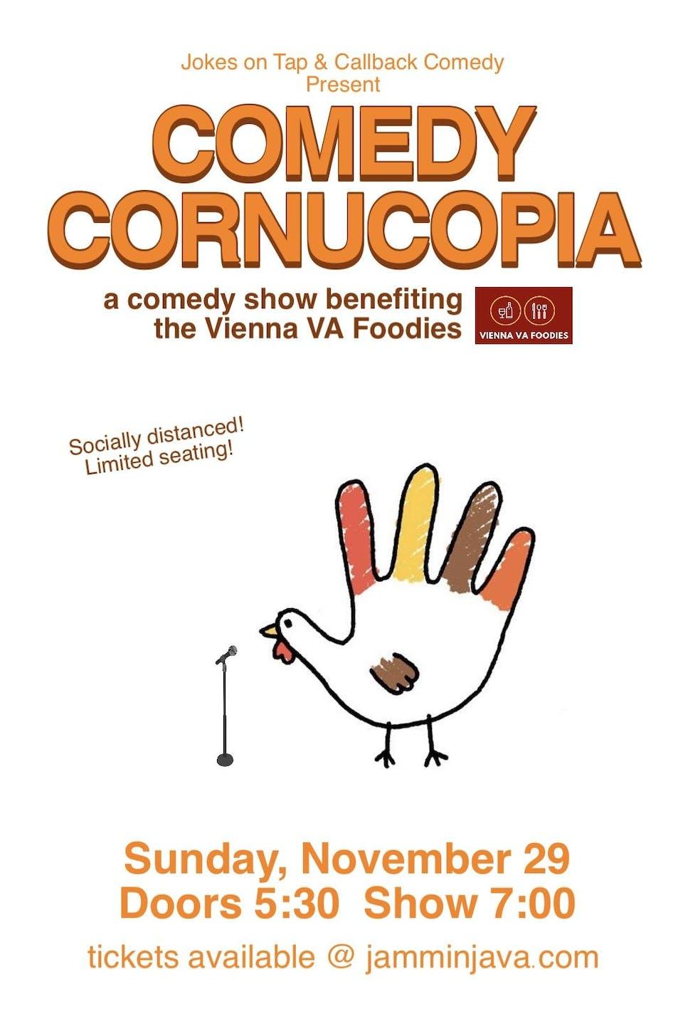 (Indoors + Distanced!) Comedy Cornucopia! Benefiting Vienna VA Foodies