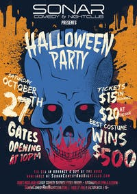 SONAR Halloween Party! Saturday October 27th, doors at 10pm!