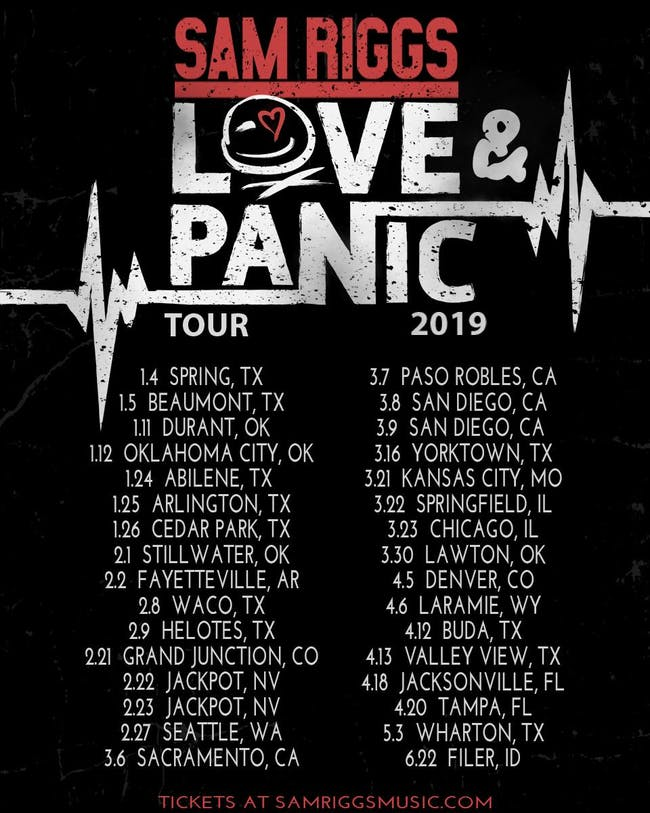 Sam Riggs Love & Panic Tour 2019 with Read Southall