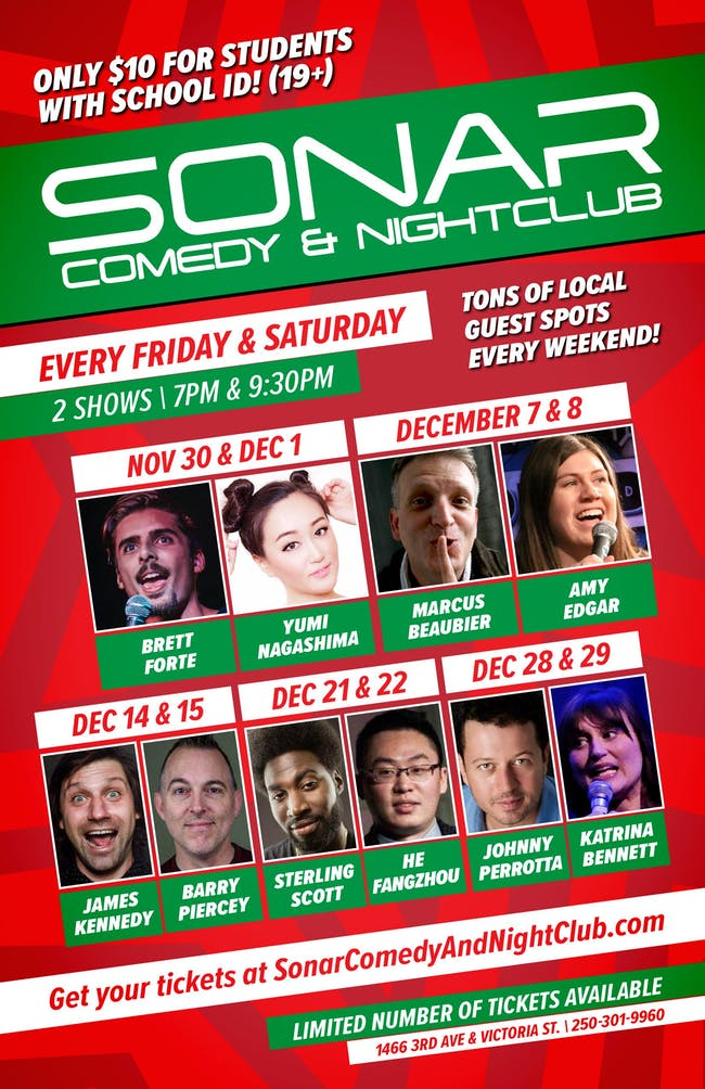 THE NEWFIE SHOW! SONAR Comedy FRIDAY DECEMBER 7 - 9:30pm Show - Marcus Beaubier & Amy Edgar