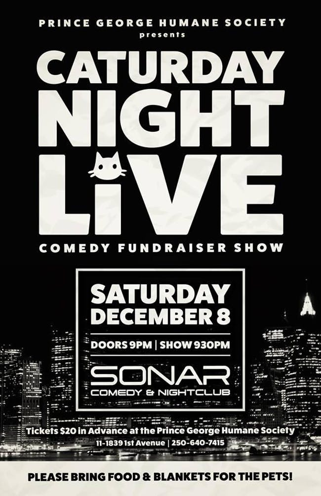 Caturday Night Live & THE NEWFIE SHOW! SONAR Comedy SATURDAY DECEMBER 8 - 9:30pm Show - Marcus Beaubier & Amy Edgar