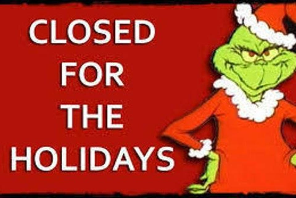 Closed For The Holidays, 12/25/2018
