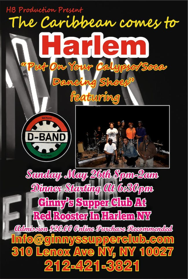 Caribbean Night Comes to Harlem – Tickets – Ginny's Supper