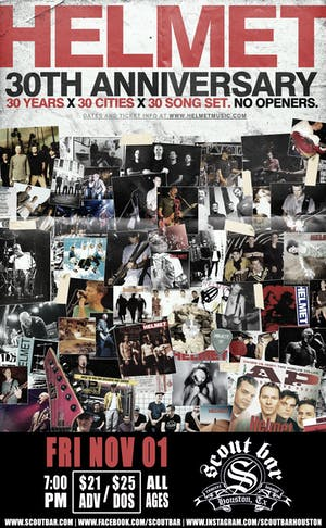 Helmet - 30th Anniversary Tour  30 Years x 30 Cities x 30 Song Set