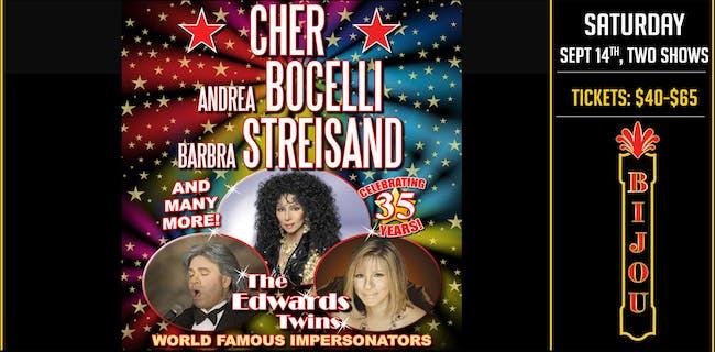 CHER, BILLY JOEL, STREISAND  & MORE! Vegas Impersonators  The Edwards Twins