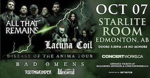 LACUNA COIL AND ALL THAT REMAINS 'DISEASE OF THE ANIMA' CO-HEADLINE TOUR