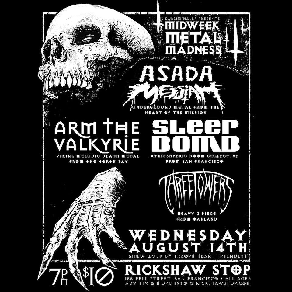 Midweek Metal Madness: ASADA MESSIAH, ARM THE VALKYRIE, SLEEPBOMB, 3 TOWERS