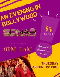 An Evening In Bollywood Party! Thursday August 22nd - Doors 9pm!