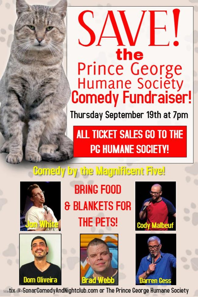 SAVE THE HUMANE SOCIETY FUNDRAISER - Thursday September 19 - Doors 7pm!