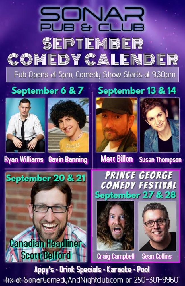 Canadian headliner Scott Belford!!! Saturday September 21, 2019 - doors 9pm, Show at 9:30pm!