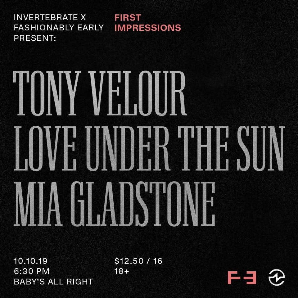 Tony Velour, Love Under The Sun, MIA GLADSTONE