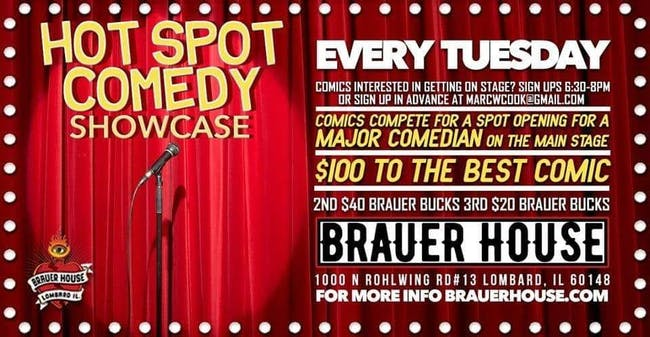 Hot Spot Comedy Showcase Tuesdays at Brauer House