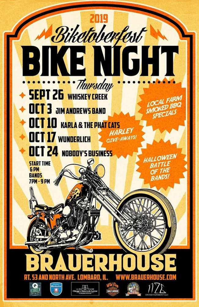 Biketoberfest Bikes Night with: Wunderlich, Mutts,  & Volk at Brauer House