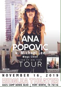 Ana Popovic w/ Special Guest Michael Lee, Mega Chief at Ridglea Theater