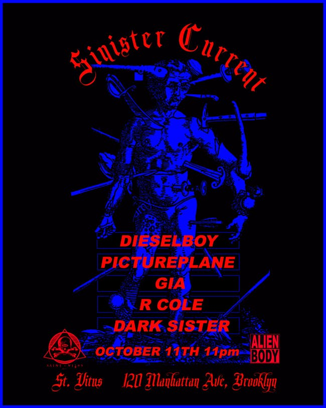 Sinister Current with Dieselboy, Pictureplane, Gia, Dark Sister,  R. Cole