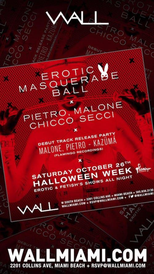 Erotic Masquerade Ball at WALL Lounge Miami Halloween10/26