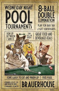 Wednesday Night Pool Tournaments- 8 Ball Double Elimination