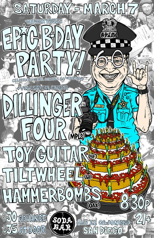 DILLINGER FOUR, toyGuitar, Tiltwheel, The Hammerbombs