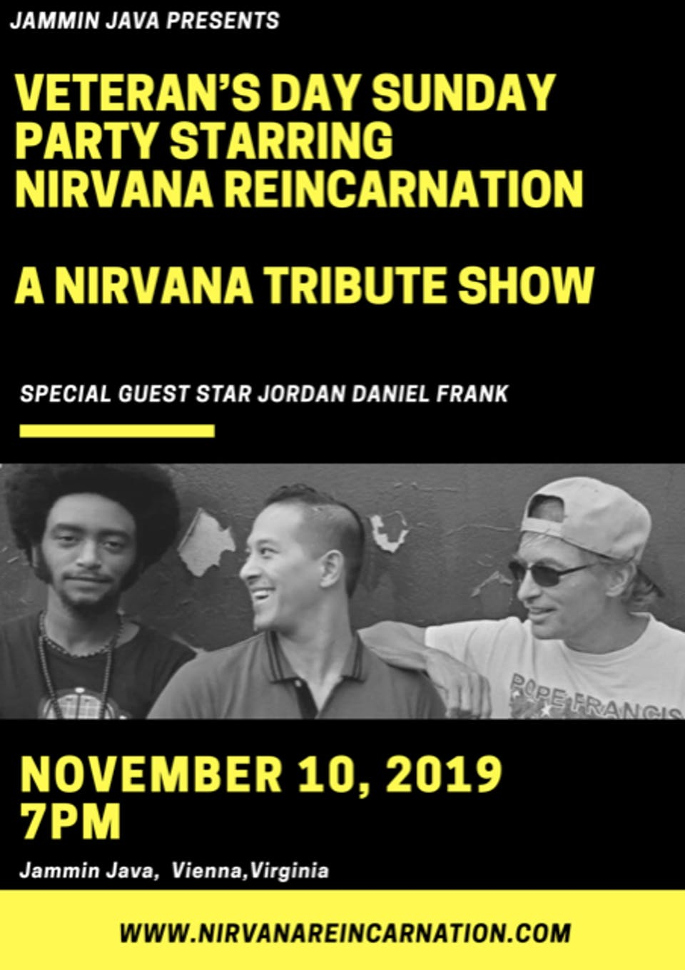 Veteran's Day Sunday Party w/ Nirvana Reincarnation + Jordan Daniel Frank