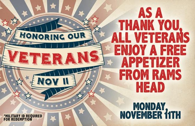 Free Appetizer for Veterans