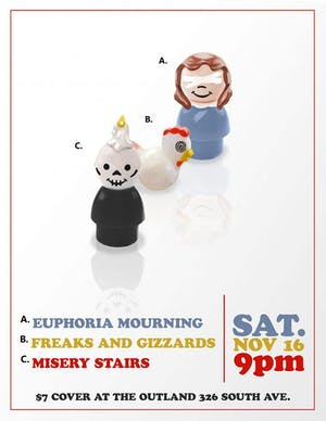 Euphoria Mourning, Misery Stairs, Freaks and Gizzards @ Outland Bar