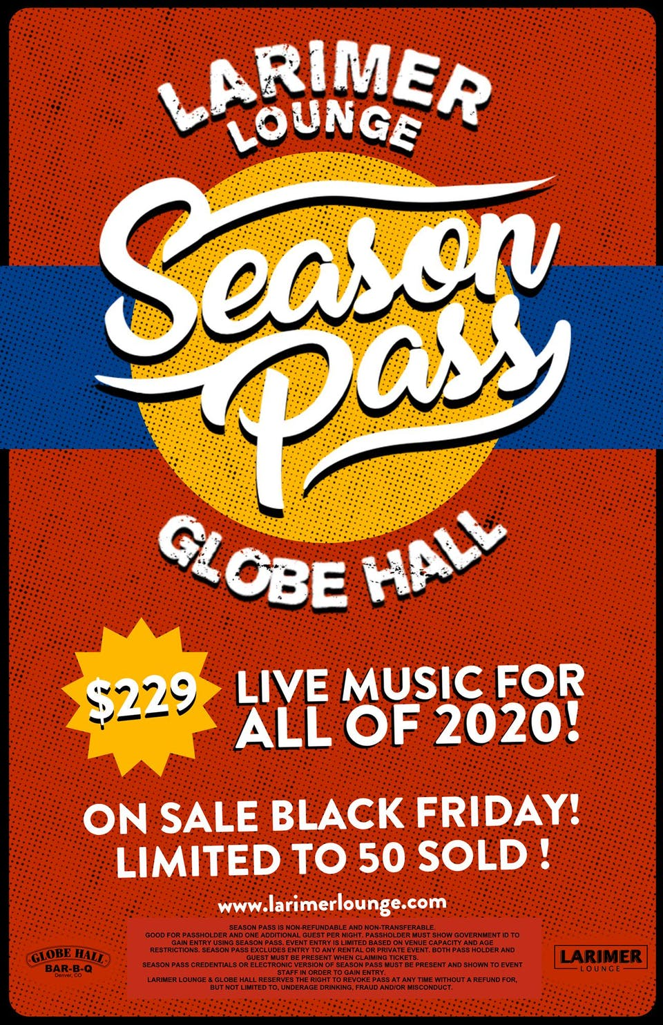 2020 Season Pass for Globe Hall & Larimer Lounge - On Sale Thanksgiving Day