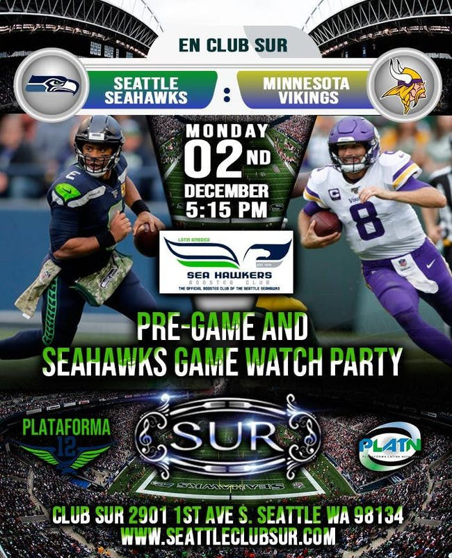 SEAHAWKS PRE-PARTY AND WATCH PARTY!