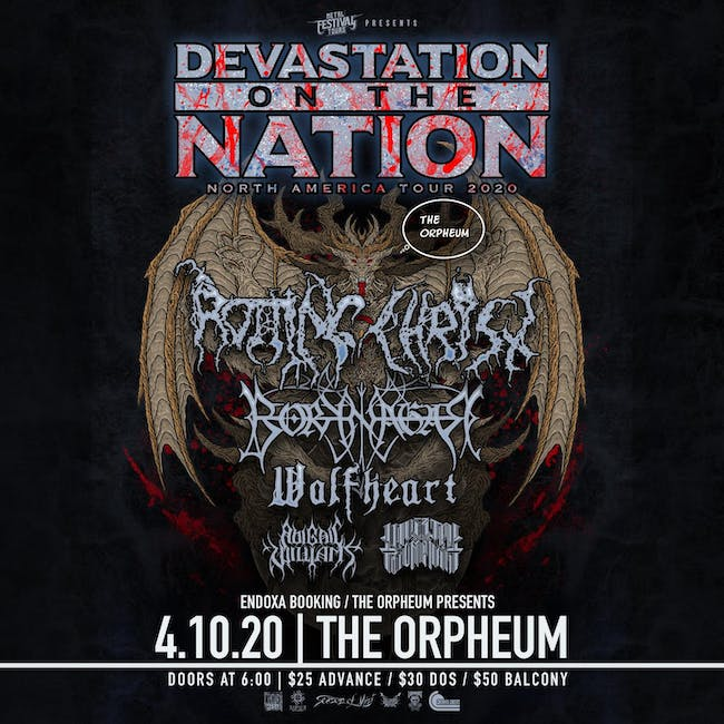 Devastation on the Nation tour w/ Rotting Christ, Borknagar, and more.