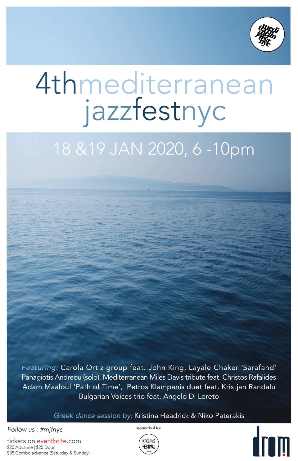 January 19th 2020 Events New York.4th Mediterranean Jazz Festival Sunday Tickets Only