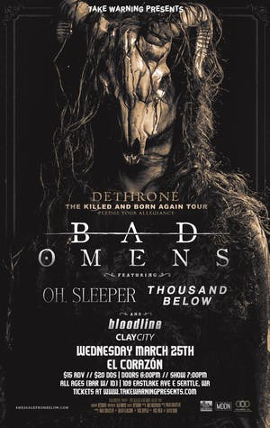 Bad Omens, Oh Sleeper, Thousands Below, Bloodline, Clay City