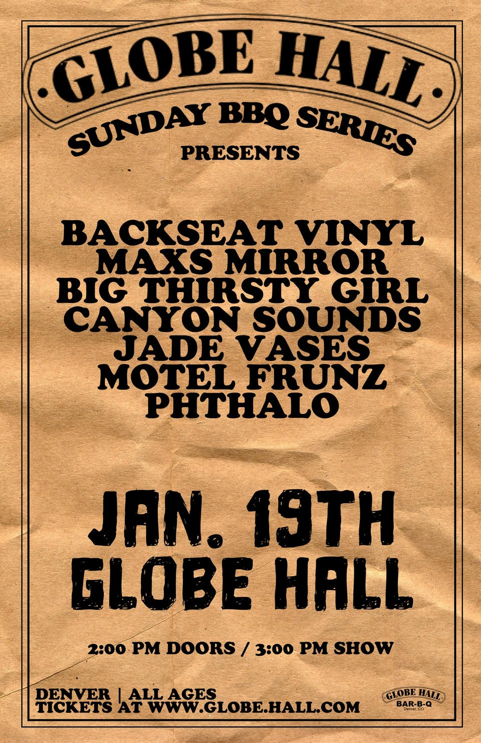 Globe Hall BBQ Series Presents  - Backseat Vinyl