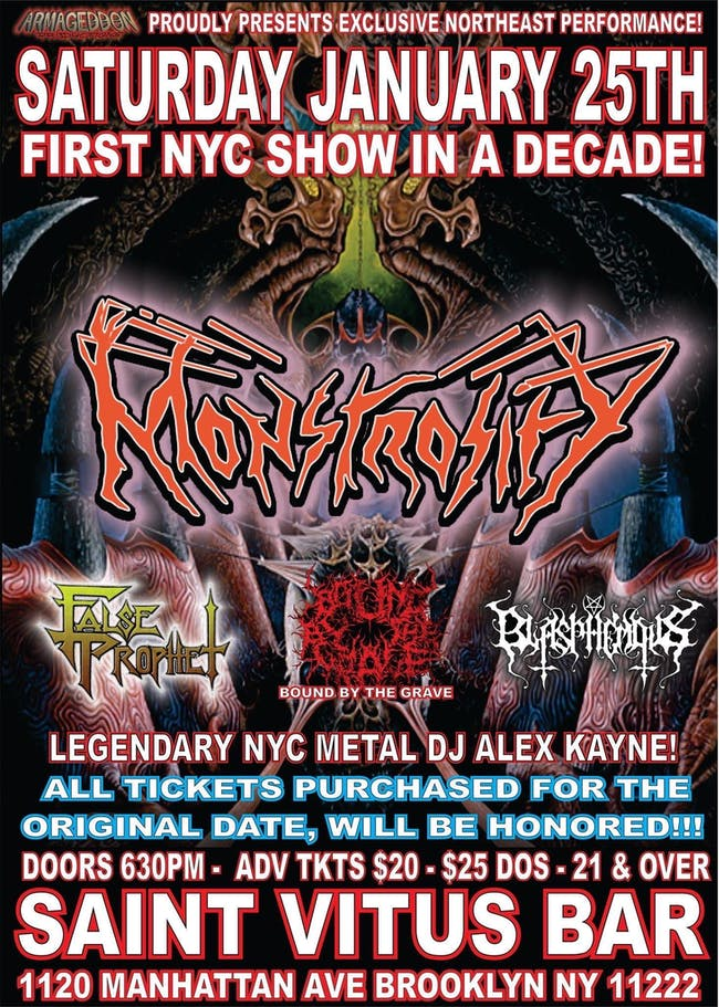 Monstrosity (first NYC show in a decade, exclusive Northeast appearance)