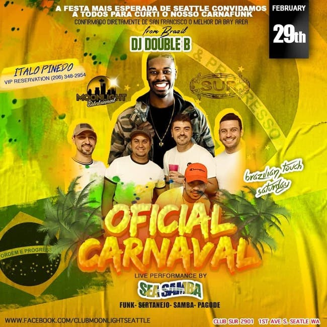 Oficial Carnaval with Live Music - Feb. 29th.