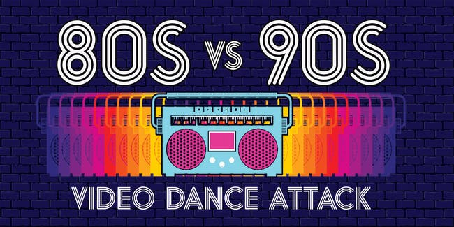 80s vs 90s Video Dance Attack at show bar