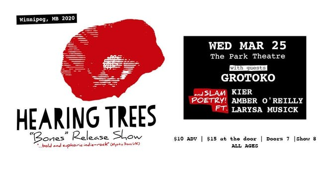 Hearing Trees BONES Release Show with Grotoko and Slam Poetry