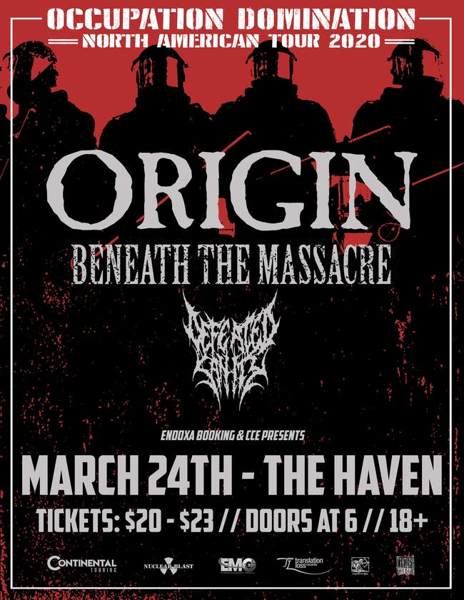 Origin, Beneath the Massacre, Defeated Sanity, and more in Orlando