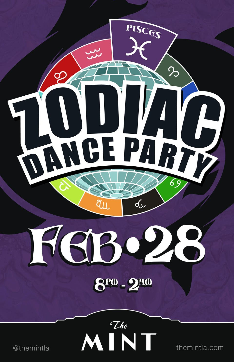 ZODIAC DANCE PARTY, Celebrating Pisces!  FREE TACOS  + 1/2 OFF DRINKS 8-9pm
