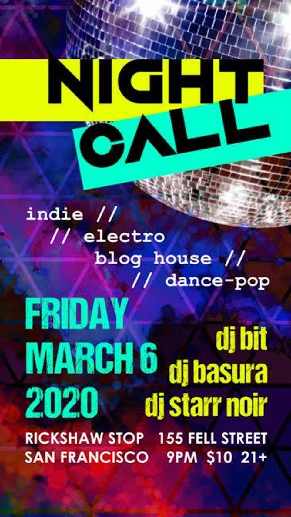 NIGHT CALL - Indie Electro/ Dance Pop/ Blog House Party!