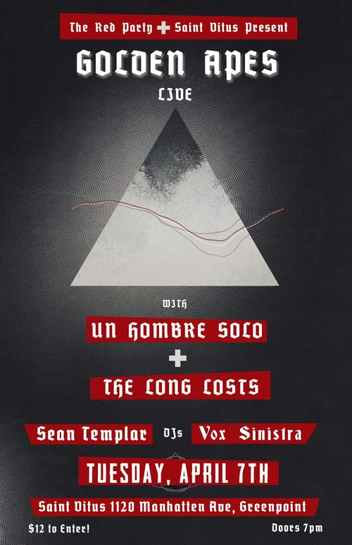 Golden Apes, Un Hombre Solo, The Long Losts, DJ Sean Templar & Vox Sinistra