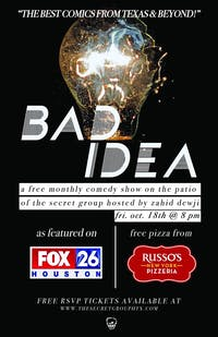 BAD IDEA: Pay What You Can Monthly Comedy Show with Free Pizza!
