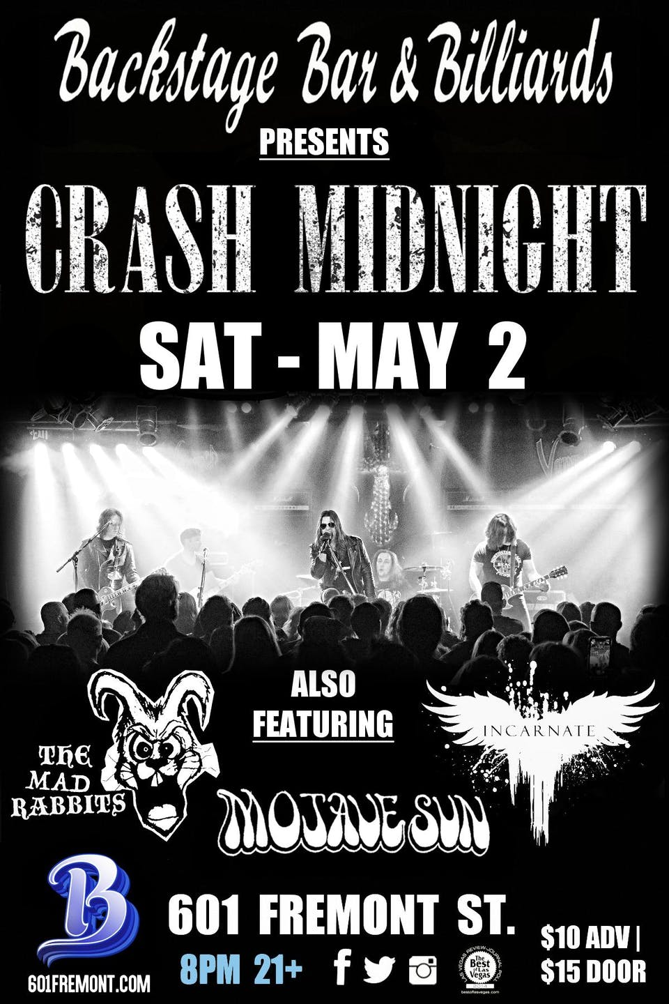 CRASH MIDNIGHT  with The Mad Rabbits,  Mojave Sun and Incarnate