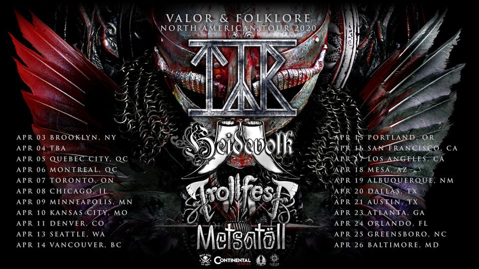 """Valor & Folklore"" North American Tour 2020 with Tyr, Heidevolk, and more!"